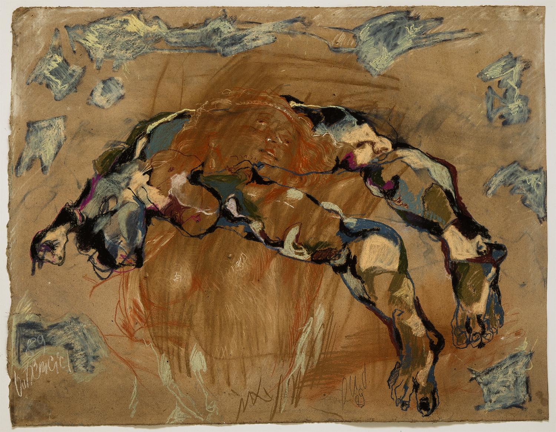 Gatzemeier -p.u.d. Verzückung 1989 Rötel und Pastell auf Pappe